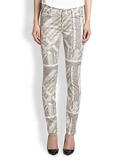 7 For All Mankind - Graphic Snakeskin-Print Skinny Jeans