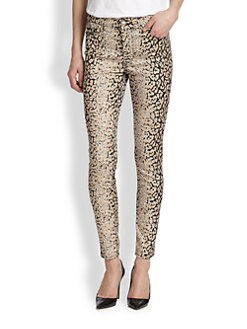 7 For All Mankind - Faded Leopard-Print Skinny Jeans