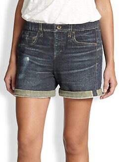 rag & bone/JEAN - Boyfriend Jean-Print Cotton Jersey Shorts