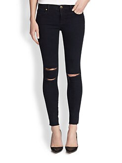 J Brand - Blue Mercy Torn-Knee Skinny Jeans