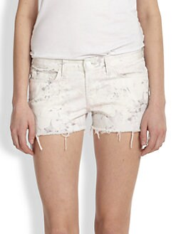 J Brand - Faded Floral-Print Denim Cut-Off Shorts