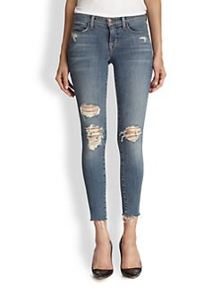 J Brand - Distressed Cropped Skinny Jeans