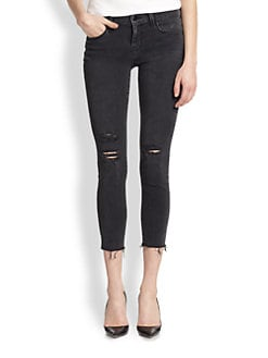 J Brand - Photo-Ready Distressed Cropped Skinny Jeans