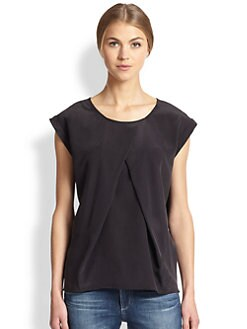 AG Adriano Goldschmied - Rowan Silk Pleat-Front Top