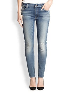 7 For All Mankind - The High Waist Distressed Skinny Jeans
