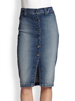 7 For All Mankind - Button-Front Stretch Denim Pencil Skirt