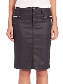 7 For All Mankind - Coated Denim Pencil Skirt