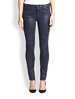 7 For All Mankind - Coated Snake-Print Skinny Jeans