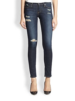 AG Adriano Goldschmied - Stilt Dark Distressed Cigarette Jeans