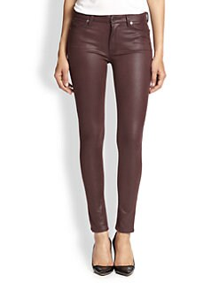 7 For All Mankind - Crackle Leather-Like Skinny Jeans