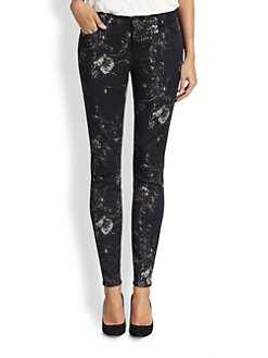 7 For All Mankind - Floral-Print Skinny Jeans