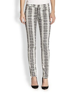 7 For All Mankind - Houndstooth Plaid Skinny Jeans