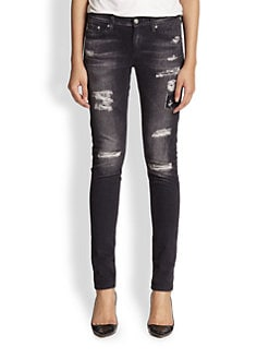 AG Adriano Goldschmied - Digital Luxe Distressed Sateen Legging Jeans