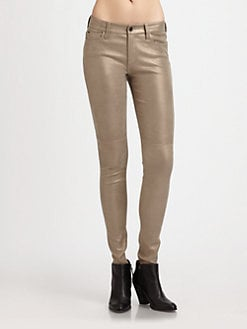 Joe's - Leather-Panel Skinny Jeans