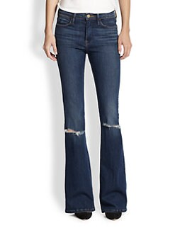 FRAME - Le High-Rise Distressed Flared Jeans