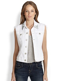 True Religion - Shelby Studded Stretch Denim Vest