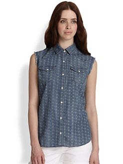 True Religion - Georgia Printed Denim Sleeveless Shirt