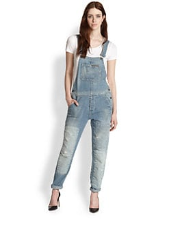 True Religion - Erin Distressed Denim Overalls