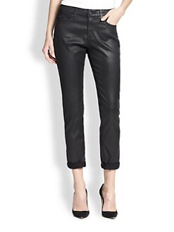 AG Adriano Goldschmied - Leather-Effect Coated Slim Boyfriend Jeans