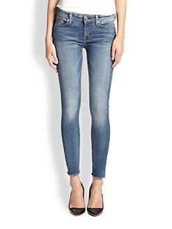 7 For All Mankind - Raw-Hem Skinny Ankle Jeans