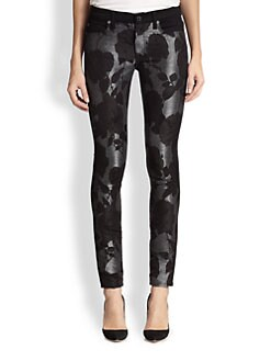 7 For All Mankind - Floral-Print Shantung-Paneled Skinny Jeans