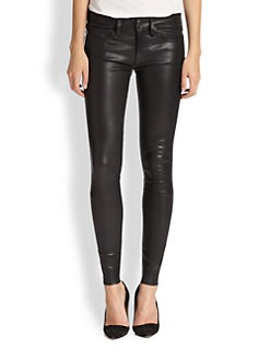 True Religion - Halle Leather Super Skinny Jeans