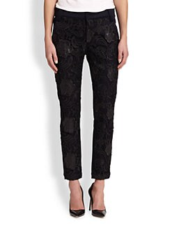 7 For All Mankind - Coated Lace-Paneled Straight-Leg Pants