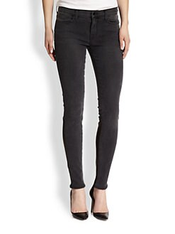 J Brand - Stepped Leather-Panel Skinny Jeans
