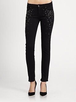 7 For All Mankind - Embellished Slim Cigarette Jeans
