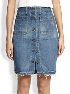 rag & bone/JEAN - Button-Front Denim Skirt