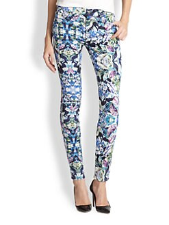 7 For All Mankind - Kaleidoscopic Printed Skinny Jeans