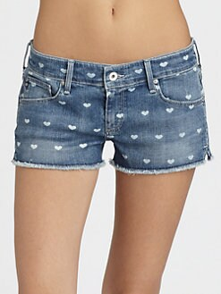 AG Adriano Goldschmied - Daisy Heart-Print Cut-Off Shorts