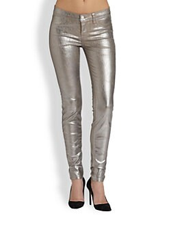 J Brand - 915 Low-Rise Coated Crackle Skinny Jeans