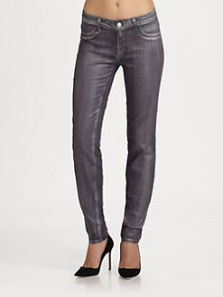 J Brand - 915 Low-Rise Coated Bullet Skinny Jeans