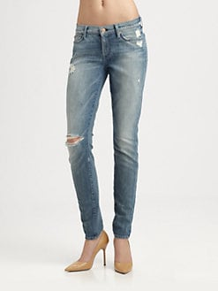7 For All Mankind - Distressed Squiggle Skinny Jeans