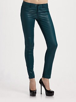 J Brand - Low-Rise Coated Twill Skinny Pants