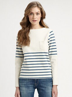MiH Jeans - Linen Nautical-Striped Pullover