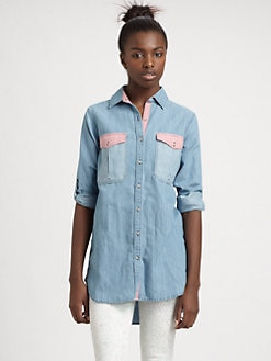MiH Jeans - Oversized Two-Tone Chambray Shirt