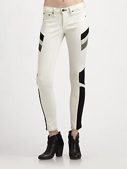 rag & bone/JEAN - Halifax Leather-Trim Leggings