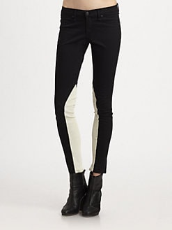 rag & bone/JEAN - Jodphur Leather-Trim Skinny Jeans