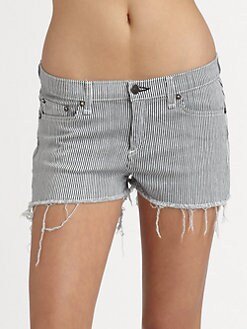 rag & bone/JEAN - Striped Cut-Off Shorts