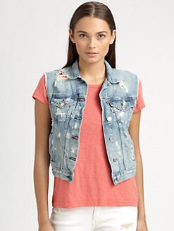 rag & bone/JEAN - Distressed Denim Vest