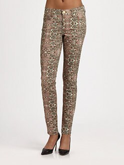 7 For All Mankind - The Skinny Mosaic-Print Jeans