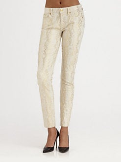 7 For All Mankind - The Skinny Metallic Snake-Print Jeans