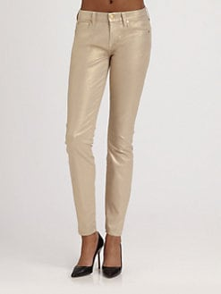 7 For All Mankind - The Skinny Metallic Sand Jeans