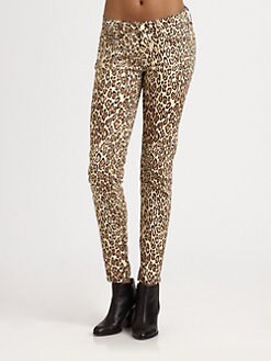 7 For All Mankind - Cheetah-Print Cigarette Jeans