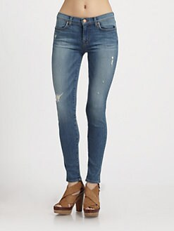 J Brand - 620 Distressed Mid-Rise Super Skinny Jeans