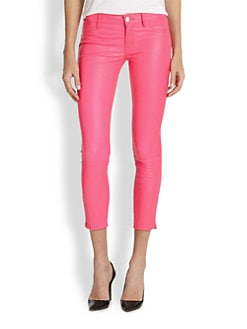 J Brand - Leather Cropped Skinny Jeans