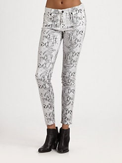 7 For All Mankind - The Skinny Contrast Snake-Print Jeans