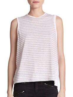 rag & bone/JEAN - Mixed-Print Linen/Cotton Tank